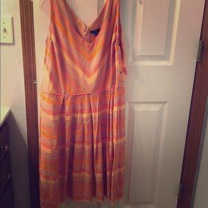 Lands end sun dress peach stripes